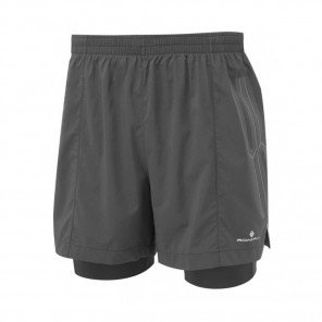 RONHILL Short TWIN MARATHON INFINITY Homme | All Black | Collection Printemps-Été 2019
